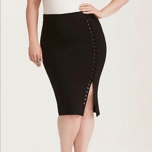 888c1b9bbe torrid Skirts | Plus Size Ponte Lace Up Skirt Size 1 | Poshmark